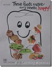 Nutrition craft: use cutouts on happy tooth, sad tooth. Children's Dental Health Center - pediatric dentist in Stoughton, MA @ childrensdentalhealth.net