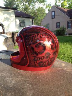 Custom painted helmet Www.brassknucklekustoms.com Custom Paint Motorcycle, Custom Motorcycle Helmets, Custom Helmets, Harley Gear, Candy Paint, Helmet Paint, Mechanical Art, Kustom Kulture, Airbrush Art