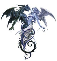 Dragon and Angel. Blue Dragon Tattoo, Dragon Tattoo Drawing, Tattoo Drawings, Fantasy Dragon, Fantasy Art, Mythical Dragons, Dragon Sketch, Dragon Artwork, Fantasy Mermaids