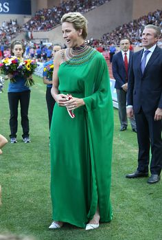 Princess Charlene of Monaco and Sergey Bubka participate at the medals ceremony during the IAAF Diamond League Meeting Herculis 2017 on July 2017 in Monaco, Monaco. (Photo by Jean Catuffe/Getty Images) Prince Albert, Albert Monaco, Olympic Swimmers, Emerald Green Dresses, Monaco Royal Family, Royal Look, Princess Madeleine, British Royals, Modest Fashion