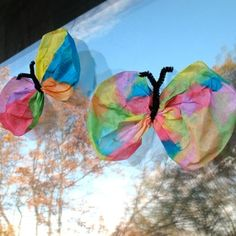 Coffee filter butterflies! Just use coffee filters, water color paint, and garnish with a chenille stem!