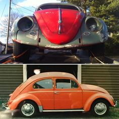 """Same my VW Oval 1957 mod in 1972 and in 2015.  Below from my student time - handpainted by myself with almost """"Porsche-Red"""" Jotun Fenolux high gloss.  Above on trailer just taken out from 35 years of storage and ready for renovation but the Dr. Ferdinand Porsche designed car started immediately!? Quite fun and surprised (now back to the same garage as when in daily use!?). #porsche #porscheboxster #porscheclub #porschelove #porschelife #porschemuseum #porschefans #porschecenter…"""