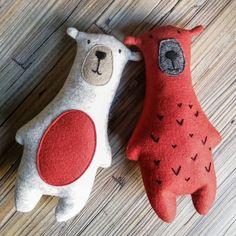 Gilfy Bear Felt Soft Toy Scandi Nursery Decor   Etsy Baby Crafts, Felt Crafts, Pillos, Bear Felt, Animal Sewing Patterns, Animal Crafts For Kids, Felt Toys, Felt Art, Stuffed Toys Patterns