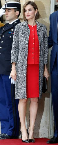 Queen Letizia 3 Jun 2015 at lunch with Prime Minister of France wearing a Nina Ricci set.