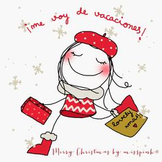 Miss Pink … I'm going on vacation! Christmas Love, Christmas Pictures, Merry Christmas, Betty Boop, Lovely Creatures, Crazy Girls, Stick Figures, Illustrations, Cute Illustration
