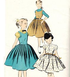 Advance 7759 UNCUT Vintage 50s Girls Swingy Full Skirt Dress and Jumper Sewing Pattern Button Bodice Size 10 Bust 28. $8.00, via Etsy.