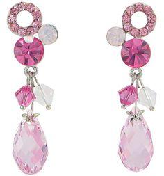 Rain Drop and Beaded Crystal Earrings (Rose Pink) 1093701