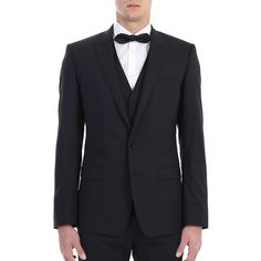 Dolce&Gabbana. Black wool Martini three piece suit. Made In Italy.
