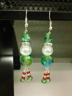 Christmas Earrings Elf Santa Snowman by LittleRGVshoppe on Etsy, $3.00