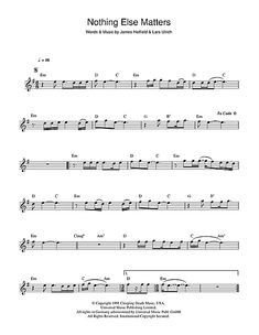 Metallica Nothing Else Matters sheet music notes and chords for Flute Free Violin Sheet Music, Pop Sheet Music, Trumpet Sheet Music, Violin Music, Piano Songs, Sheet Music Notes, Music Sheets, Metallica, James Hetfield