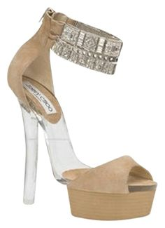b68eb21e160d These Jimmy Choo Nude Embellished Platform Sandals Size US Narrow (Aa
