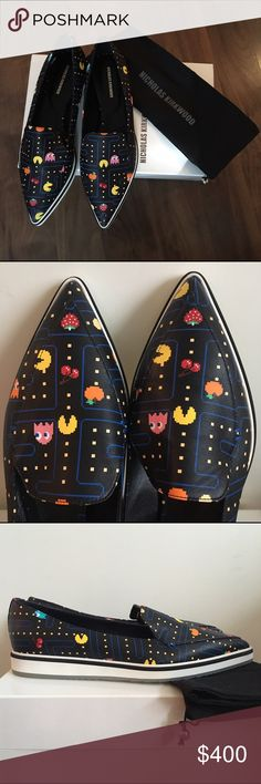Nicholas Kirkwood Pac-Man Alona loafers NWT Selling these hard-to-find beauties on behalf of a friend who received them as a gift, but they're tragically too small. Limited edition leather Pacman loafers by Nicholas Kirkwood. Leather uppers & rubber sole. Pointed toe. These look like the world's classiest geeky Vans. ;) The sole isn't pure white. It's a clear-ish off-white gummy color, if that makes sense. Like Docs, but lighter. New with box & dust bag. No damage. Price on box is in…