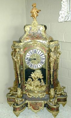 Large Antique French Boulle Mantel Clock circa 1850s