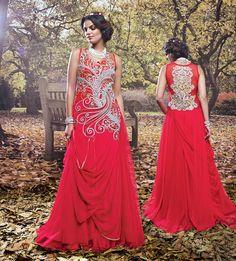 Pink Net Floor Length Designer Gown 63610
