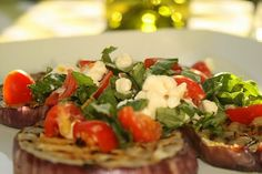 Grilled Eggplant with Tomato and Goat Cheese