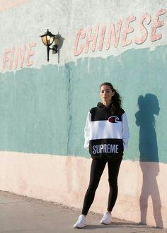 028a6239956 Adrianne Ho wearing Supreme x Champion Hooded Sweatshirt streetwear white  runners sneakers brunette hair long ponytail