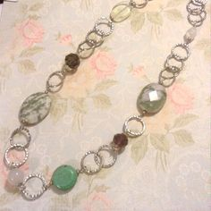 Multi stone silver necklace Handmade genuine stones featuring peacestone Jasper, turquoise, white lace agate and Czech glass on silver plated chain. Sayre Jewelry Necklaces
