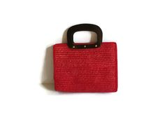 Red Straw Purse Woven Handbag Bag Retro Summer Vegan Tote Rockabilly 60s 1960s Style by GoodLuxeVintage on Etsy