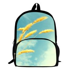 New Fashion 16 Inches Printing Green Bristlegrass Cute Children School Bags Women Pack Girls Backpack Men's Bag Boys Pocket