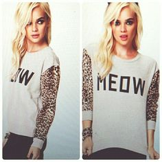 meow pullover extremely soft and comfy pullover. only worn once. Forever 21 Tops Sweatshirts & Hoodies