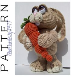 CROCHET PATTERN - Benton the Ami Bunny : ~ Crocheted as directed with F hook, models which have been produced are approximately 13 inches tall. However, depending on your crochet style, this measurement may/will vary. ~