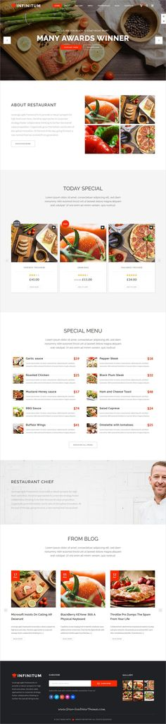 Infinitum is clean and modern design responsive multipurpose WordPress theme for #restaurant and #cafe website with 18+ niche homepage layouts to live preview & download click on Visit #websitedesign