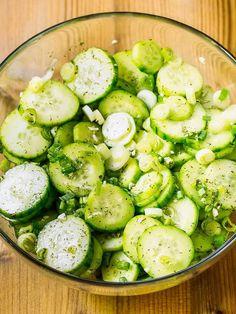 Cucumber salad:  w/   spring onion, sliced 1 garlic clove, minced 4 tbsp apple cider vinegar 1 tsp honey 2 tsp dried dill or 2 tbsp chopped fresh dill