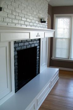 My fireplace was downright ugly. I have hated it for years. The brick, the stone mantel and hearth. I changed the facade of the fireplace and gave everything a fresh coat of white paint.