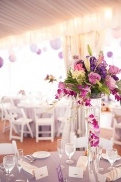 Radiant Orchid Wedding Centerpieces