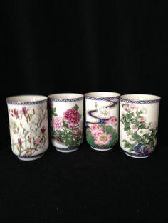 VINTAGE JAPANESE Fine PORCELAIN set of 4 tea by CoCoBlueTreasures,