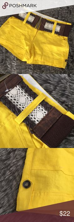 9874cc740a Junior s Shorts by sloosh Boho belt Cute bright yellow gold shorts by  sloosh brand. New