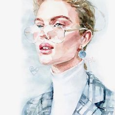 watercolor art by Wallpaper Wall, Watercolor Wallpaper, Watercolour Painting, Make Up Gesicht, Watercolor Portraits, Portrait Art, Watercolor Illustration, Design Art, Art Drawings