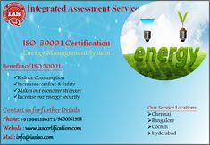 ISO 50001 is an internationally standard that sets out the requirements for an Energy management system. It helps organisations improve their Energy safety performance through more efficient use of resources and reduction of waste, gaining a competitive advantage. For More details Contact us : +91 9600051938, +91 9962590571. Email: info@iasiso.com #Chennai #bangalore #Cochin #hyderabad #Singapore #malaysia #indonesia #kuwait #qatar #Dubai