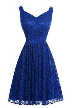 Dasior Women's Short Lace Bridesmaid Party Dresses Royal Blue - Brought to you by Avarsha.com