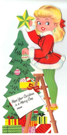 Vintage Articulated Girl & Christmas Tree by independencevintage, $3.00