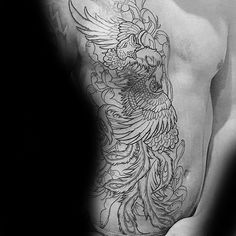 Black Ink Outline Japanese Phoenix Rib Cage Side Tattoos For Men Japanese Phoenix Tattoo, Phoenix Tattoo Men, Japanese Tattoos For Men, Phoenix Tattoo Design, Japanese Tattoo Designs, Japanese Sleeve Tattoos, Mens Side Tattoos, Cool Chest Tattoos, Chest Tattoos For Women