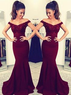 8ac12734b2b Trumpet Mermaid Off-the-Shoulder Sleeveless Floor-Length Lace Satin Evening Dresses  Prom Gowns