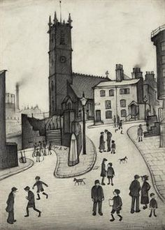S Lowry Study for Angel Meadow. History Manchester, Building Sketch, Salford, Cool Artwork, Amazing Artwork, St Michael, Famous Artists, Landscape Paintings, San Miguel