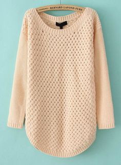 Pink Long Sleeve Hollow Kint Pullover Sweater - Sheinside.com