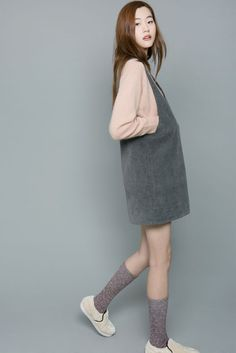 schoolgirl look here, but lose the kneehighs & lower the hem, accessorize, can work for older pop