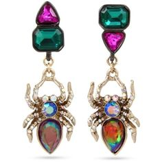 Betsey Johnson  Hematite And Gold-Tone Mismatched Stone Spider Drop... ($38) ❤ liked on Polyvore featuring jewelry, earrings, multi, betsey johnson earrings, colorful earrings, stone jewelry, stone drop earrings and multicolor earrings