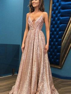 Prom Dress For Teens, A-Line/Princess Sleeveless Spaghetti Straps Floor-Length Sequins Dresses cheap prom dresses, beautiful dresses for prom. Best prom gowns online to make you the spotlight for special occasions. Sequin Formal Dress, Elegant Maxi Dress, Sequin Evening Dresses, Elegant Prom Dresses, Beautiful Prom Dresses, Formal Dresses, Maxi Dresses, Sparkly Dresses, Long Dresses