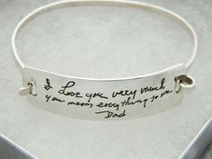 Dad's Handwriting Jewelry In Memory of Dad Bracelet in Sterling Silver Dad Bracelet, Bracelets With Meaning, In Memory Of Dad, Hammered Silver, Photo Jewelry, Sterling Silver Bracelets, Fashion Bracelets, Handwriting, Dads