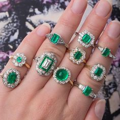 Saying  to May today, and celebrating with a handful of emeralds!!  All you lucky May babies, enjoy!  #love #emerald #birthstone #mayday #emeraldrings #bling #may #rings #trumpetandhorn