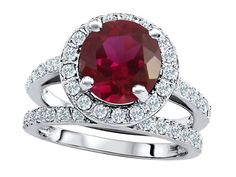 Original Star K(tm) 8mm Round Created Ruby Engagement Wedding Set LIFETIME WARRANTY
