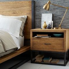 "Copenhagen Reclaimed Wood Nightstand #westelm 25"" high. I love the design. I like it with the headboard."