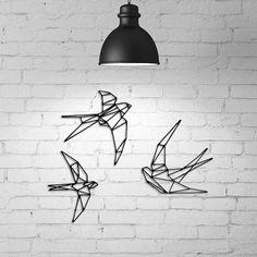 Geometric Tattoo Bird, Geometric Wall Art, Toothpick Sculpture, Swift Bird, Swallow Bird Tattoos, Wire Wall Art, Metal Birds, Home Decor Furniture, Wall Colors