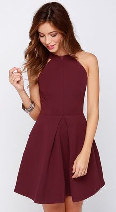 Pretty burgandy dress, date night outfit