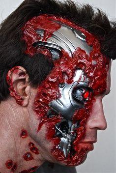 Terminator 2 Stage 5 SW bust from Howard Terminator Tattoo, Terminator Movies, Terminator Costume, Male Makeup, Fx Makeup, Nono Le Petit Robot, Arnold Movies, Robot Makeup, Amazing Halloween Makeup