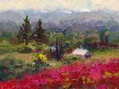 Crimson Hillside - plein air palette knife by Talya Johnson Oil ~ 6 inches x 8 inches
